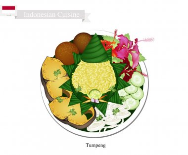 Tumpeng or Indonesian Cone Shaped Rice with Various Indonesian Dishes