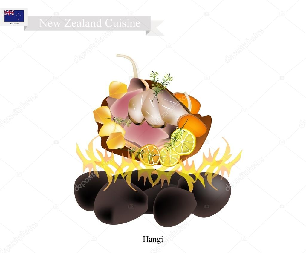 Hangi Danie Maorysów Tradycyjne Nowa Zelandia Grafika