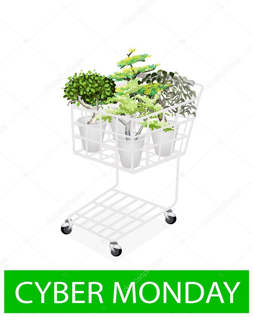 Green Trees in Cyber Monday Shopping Cart