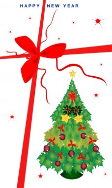 New Year Gift Card with Christmas Tree