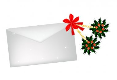 Christmas Holly and Red Bow with A Letter