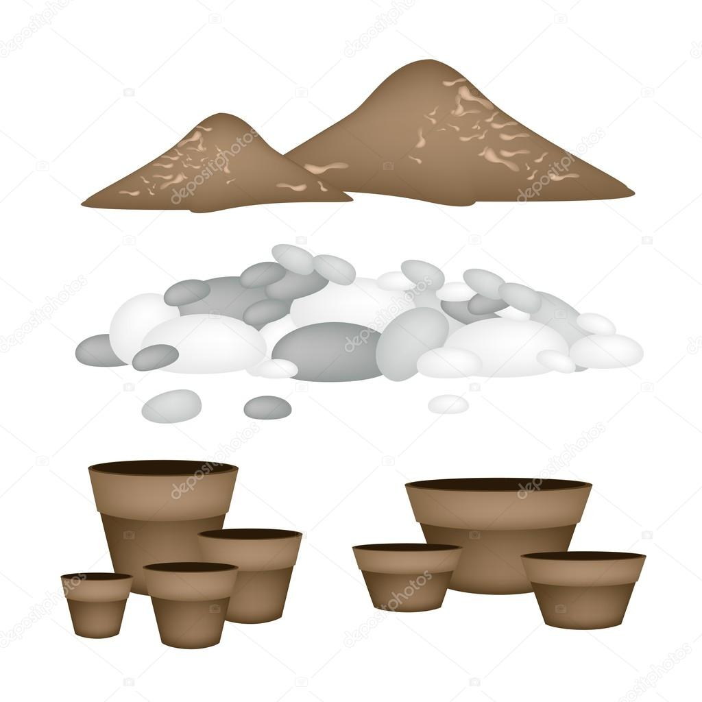 Terracotta Flower Pots with Soil and Pebble