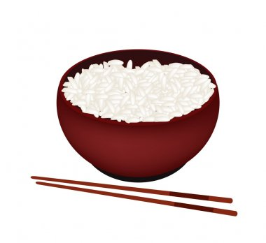 A Bowl of White Rice on White Background