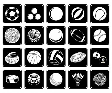 Collection of Sport Ball Icons on White Background