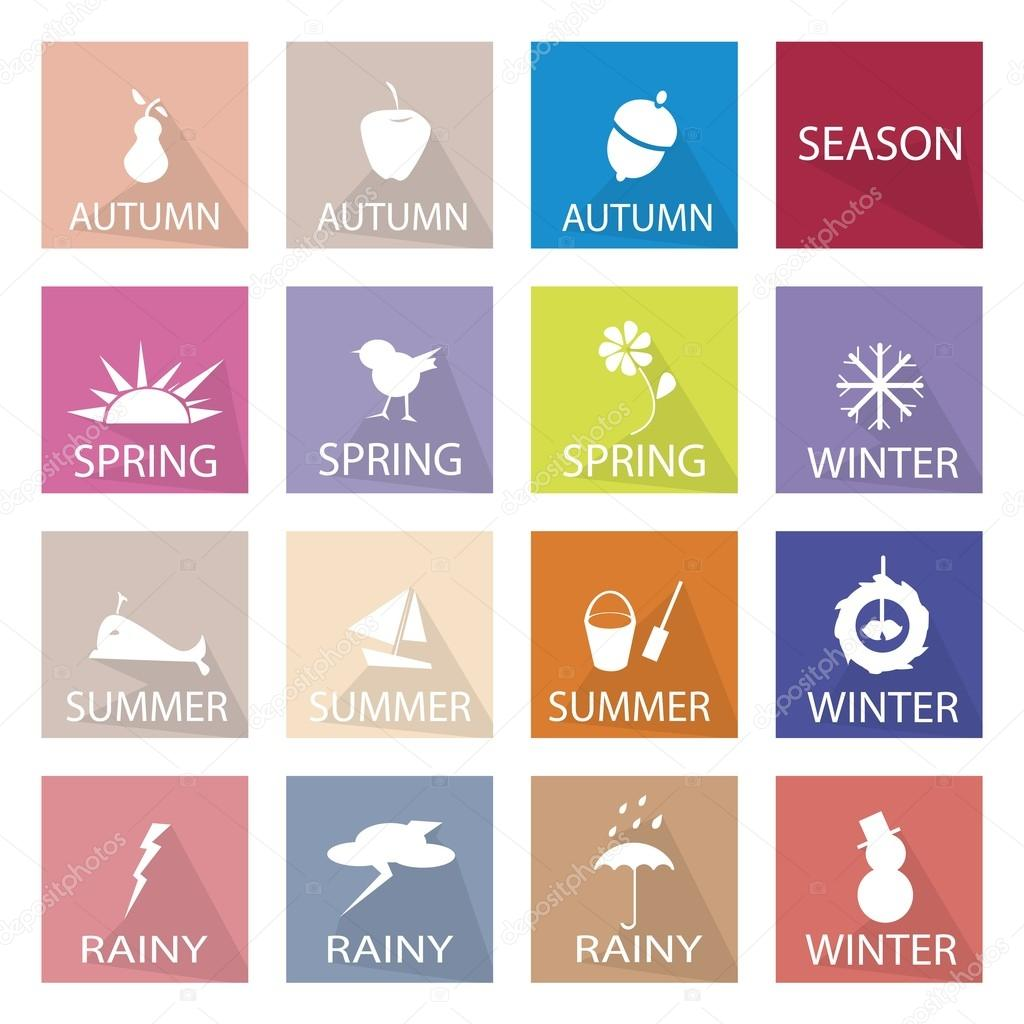 Illustration Set of 16 Season Flat Icon