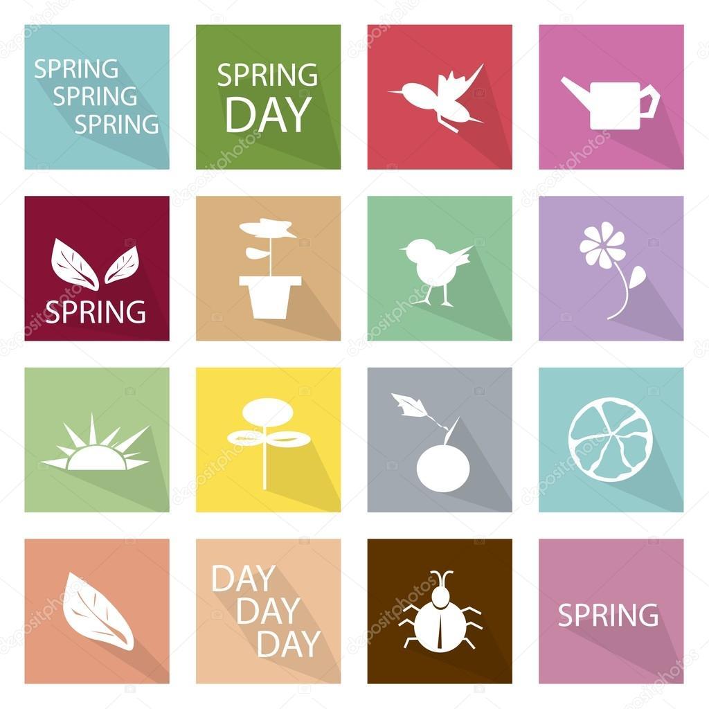 Illustration Set of 16 Spring Season Icon