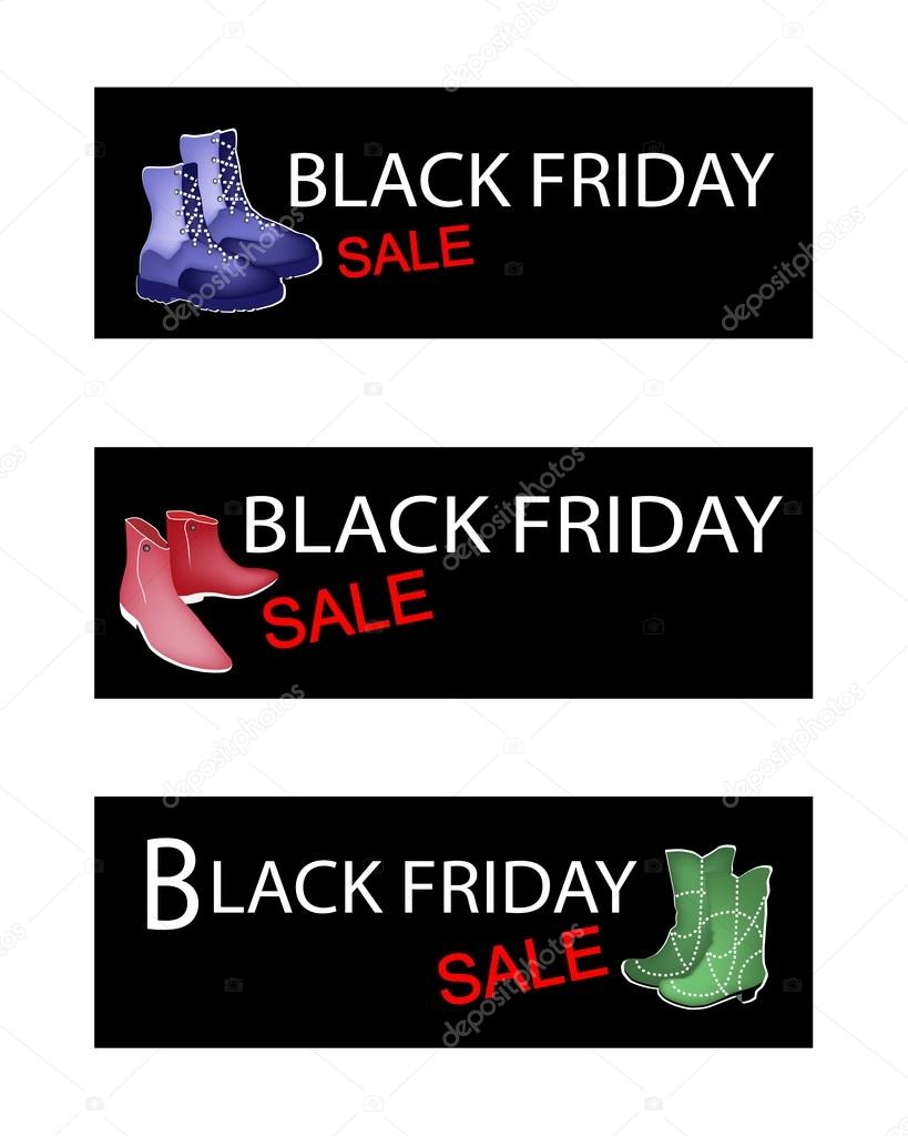 Fashionable Shoes on Three Black Friday Sale Banners