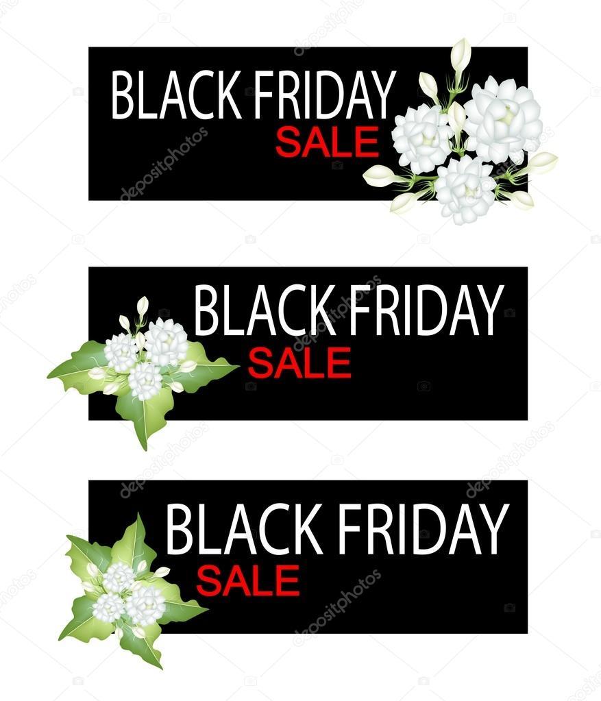 Jasmine Flowers On Black Friday Sale Banner Stock Vector Iamnee