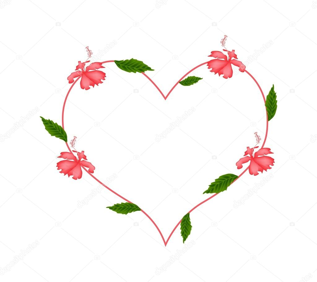 Red Hibiscus Flowers In A Heart Shape Stock Vector Iamnee 98022818