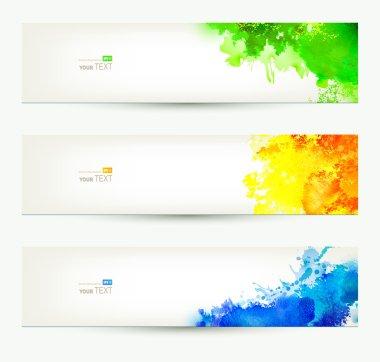 Three colorful headers