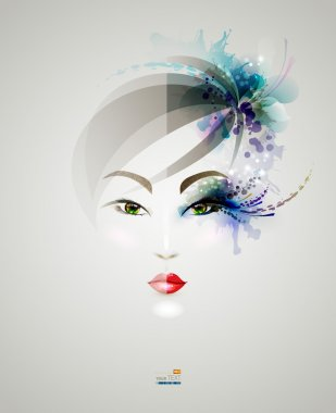 Young woman face with makeup and without clip art vector
