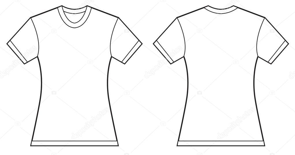 Women Blank Shirt Design Template Stock Vector