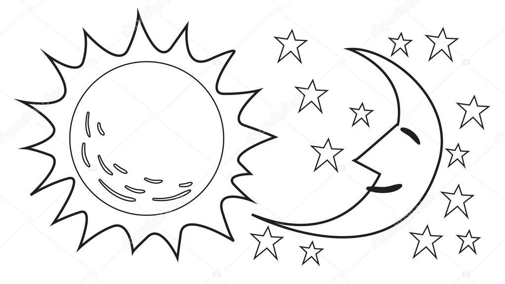 Картинки раскраски луна и солнце