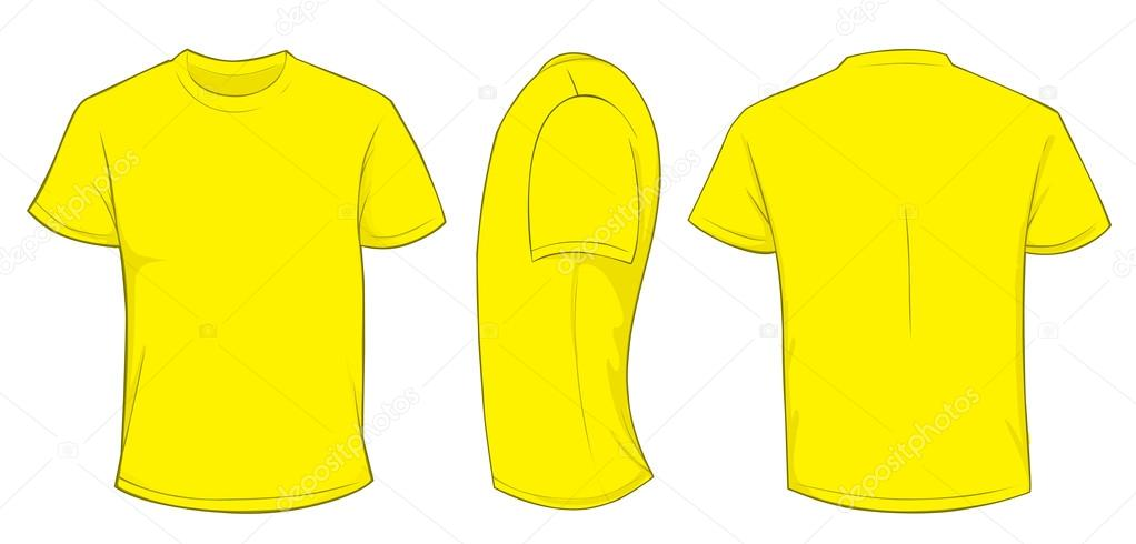 Vector Illustration Of Blank Yellow Men T Shirt Template Front Side And Back Design Isolated On White By Airdone