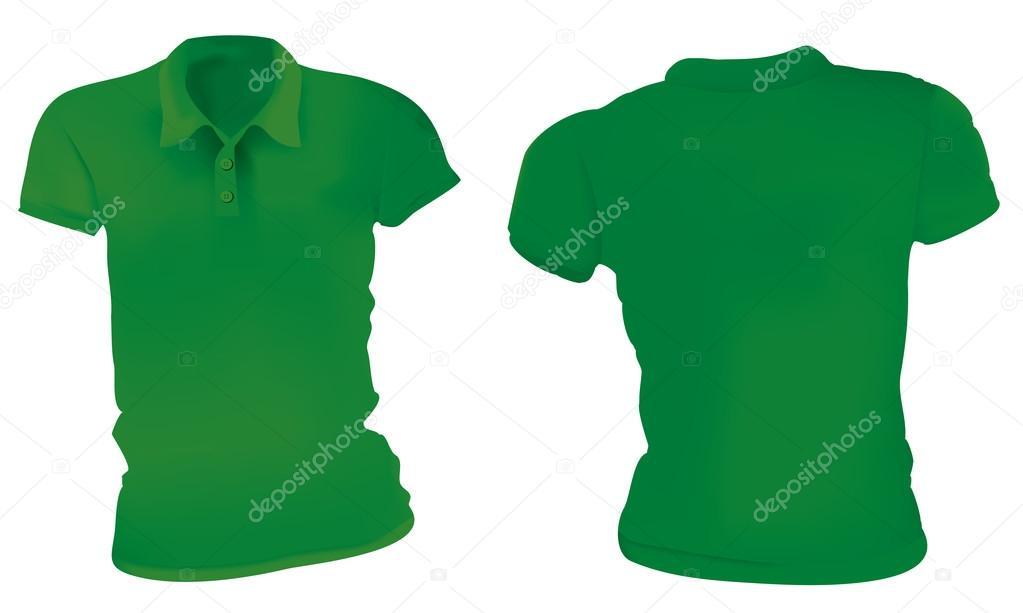 d10d3321b0 Ilustração em vetor de modelo de camiseta polo feminina verde em branco