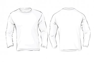 Men's Long Sleeved T-Shirt Template, White Color