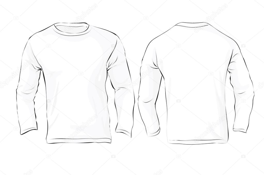 Men\'s Long Sleeved T-Shirt Template, White Color — Stock Vector ...