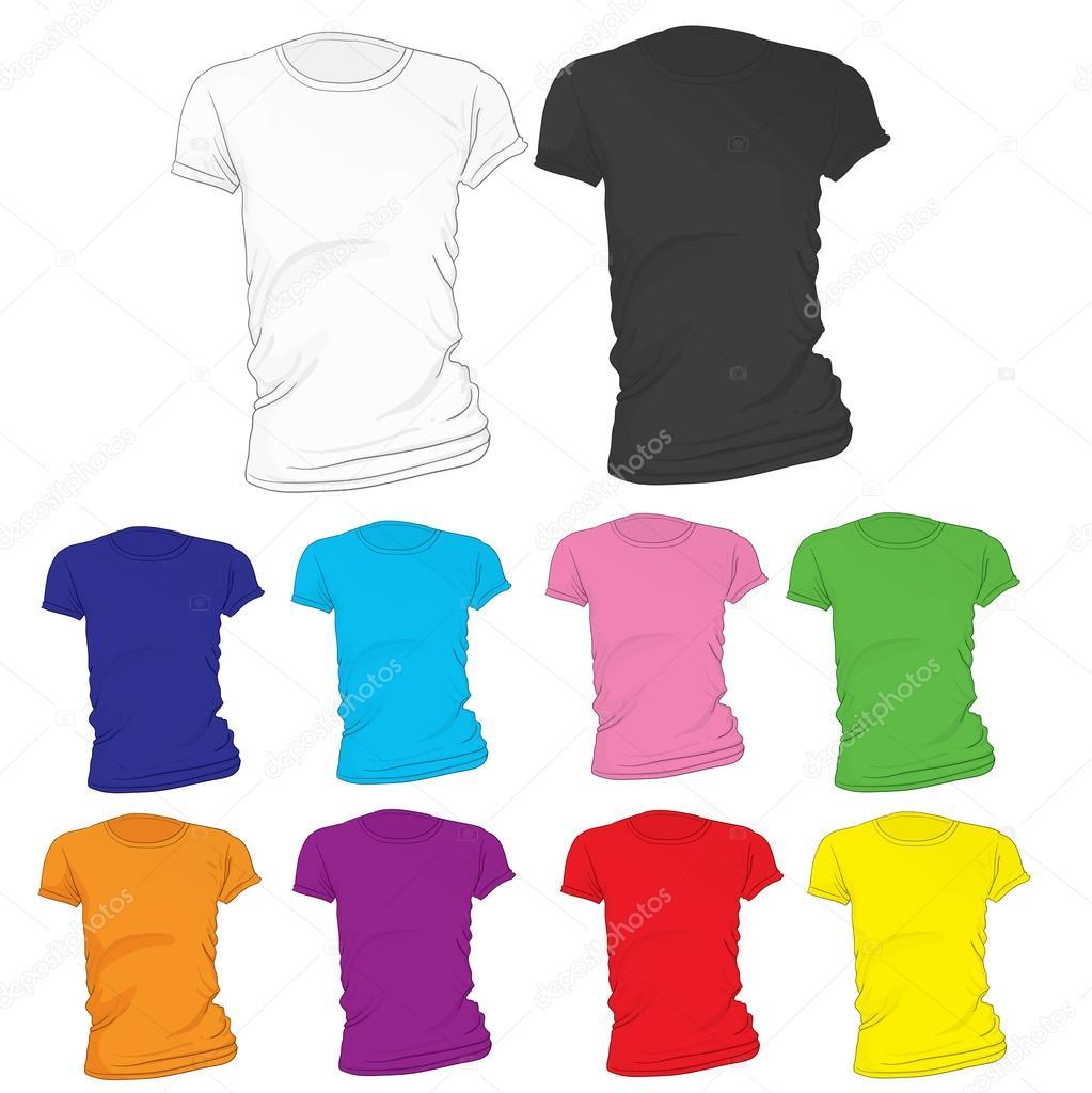 Women\'s leere T-shirt Vorlage in vielen Farben — Stockvektor ...