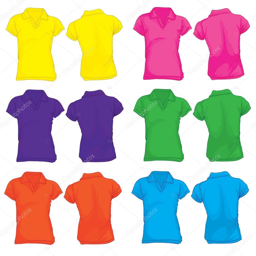 Εικονογράφηση φορέας πρότυπο πουκάμισο πόλο των γυναικών σε πολλά χρώματα cb9482c1553