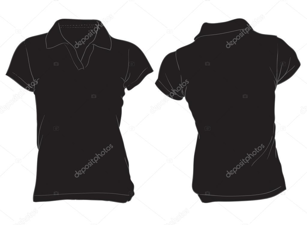 comprar online 495d0 9cc97 Vector: camisa polo negra   plantilla de mujeres camisa polo ...