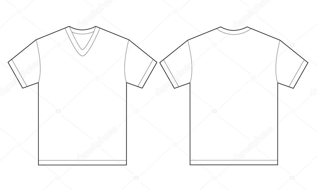 White V Neck Shirt Design Template For Men Stock Vector