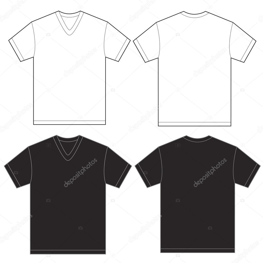 Negro con blanco cuello en v camiseta plantilla de diseño para ...