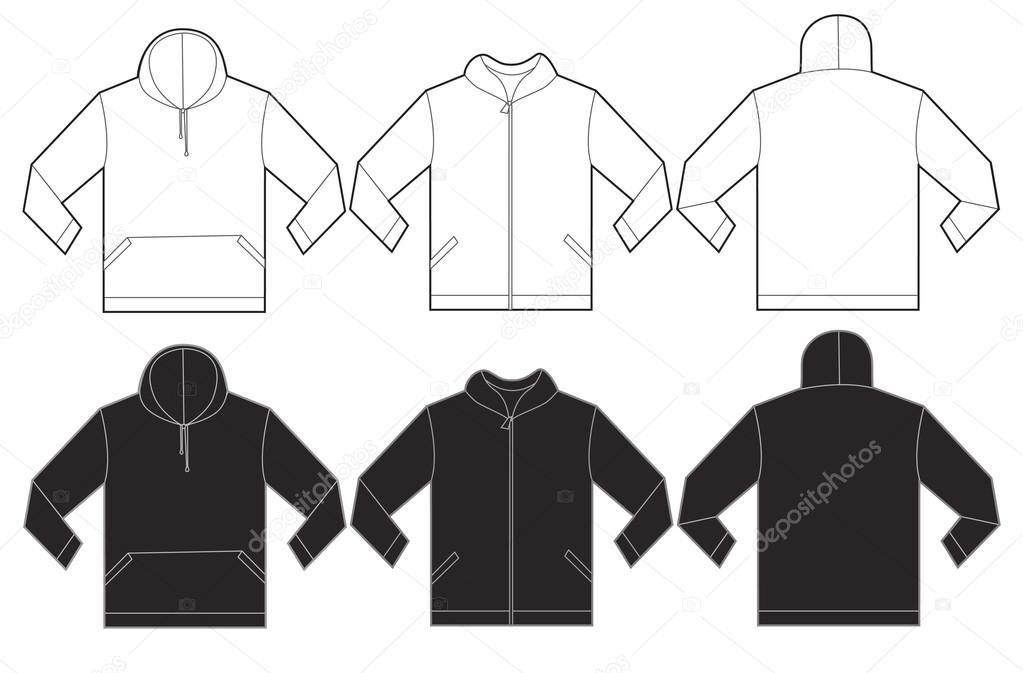 Black White Hoodie Sweatshirt Design Template Stock Vector - Sweatshirt design template