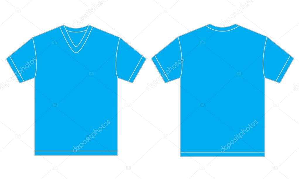 08739445 Vector illustration of light blue v-neck shirt, isolated front and back  design template for men — Vector by ...