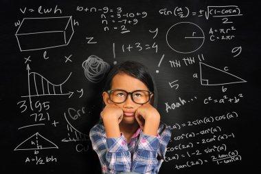 Little Asian Student Girl Getting Sick of Math