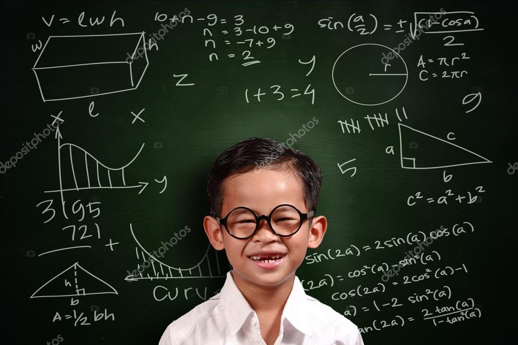 Little Asian Student Boy Math Genius — Stock Photo © airdone #92089354