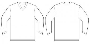 White Long Sleeve V-Neck Shirt Design Template