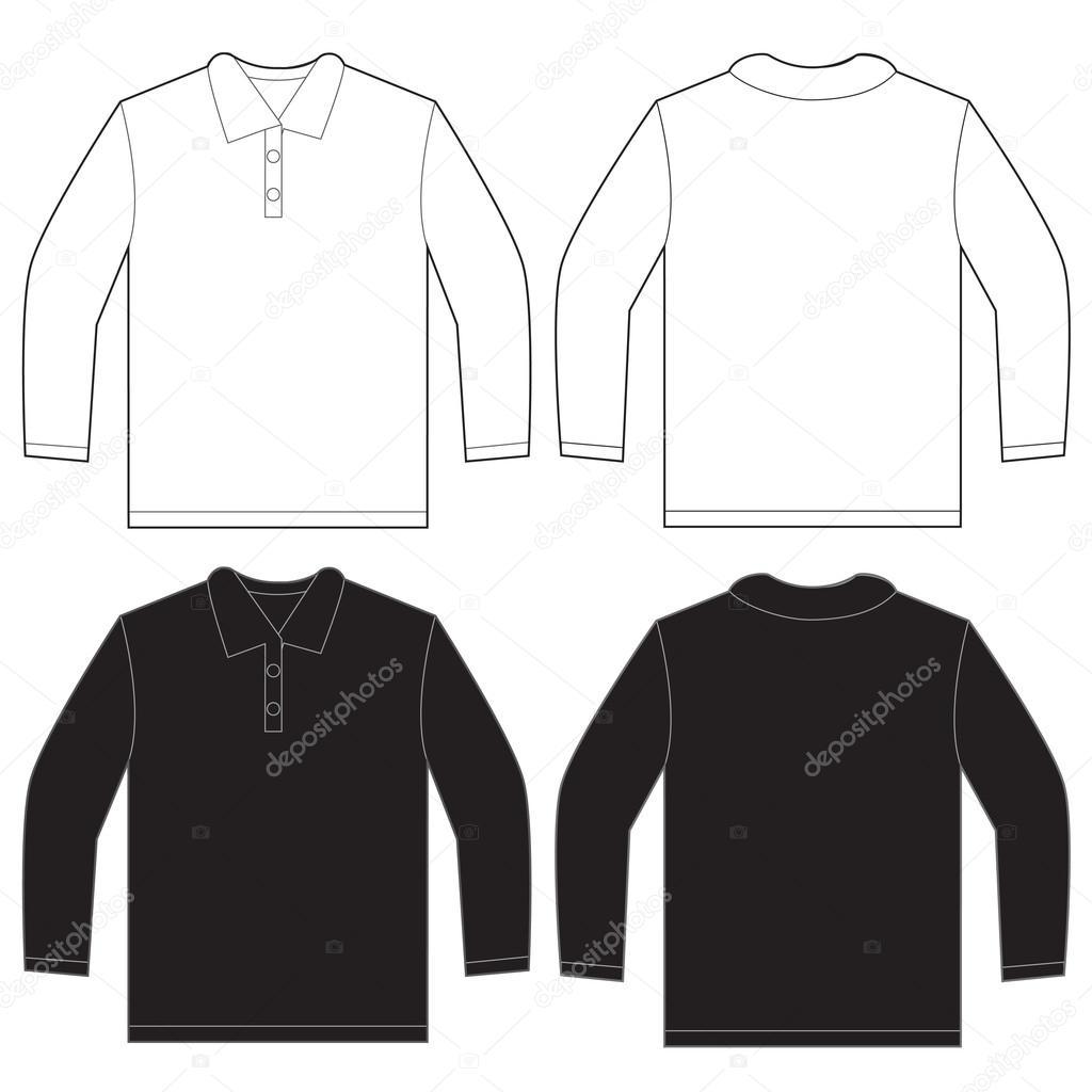 Black White Long Sleeve Polo Shirt Design Template Stock Vector