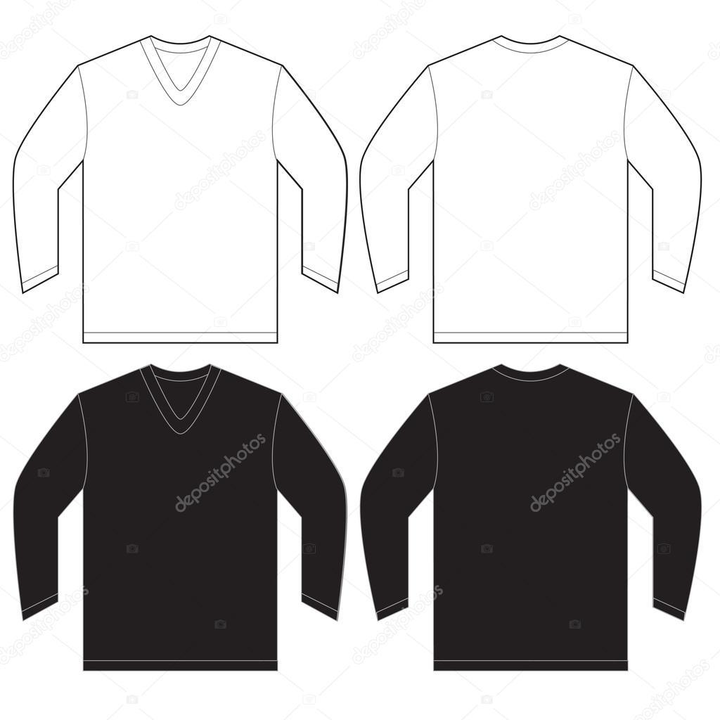 Negro blanco manga larga con cuello en v camiseta plantilla — Vector ...