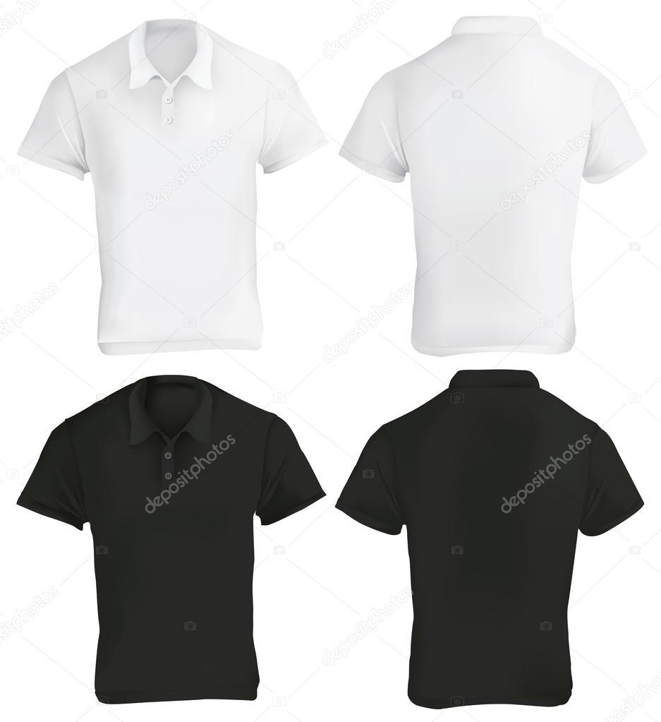 053cede6ec845 Ilustración de vector de plantilla de la camisa de polo en blanco y negro