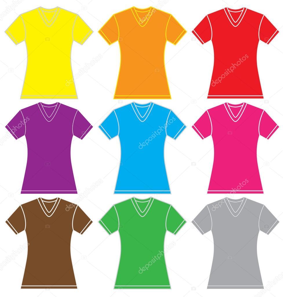 4f36182b2a Ilustração em vetor de modelo de camisa de gola v feminina em muitas cores