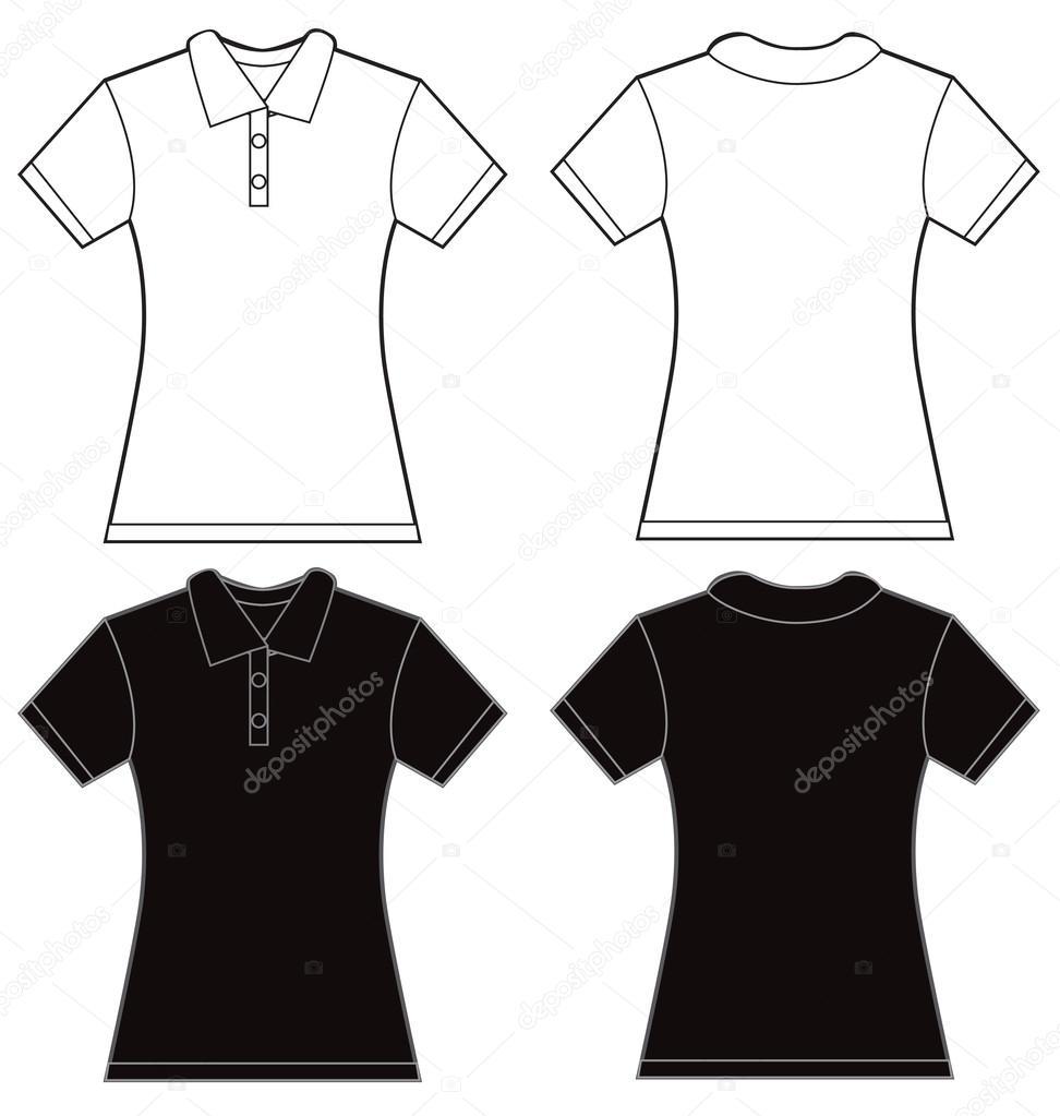 f46a62642 Preto modelo de Design de camisa Polo branco feminino — Vetores de Stock