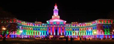 Denver City and County Building illuminated at night, Colorado.