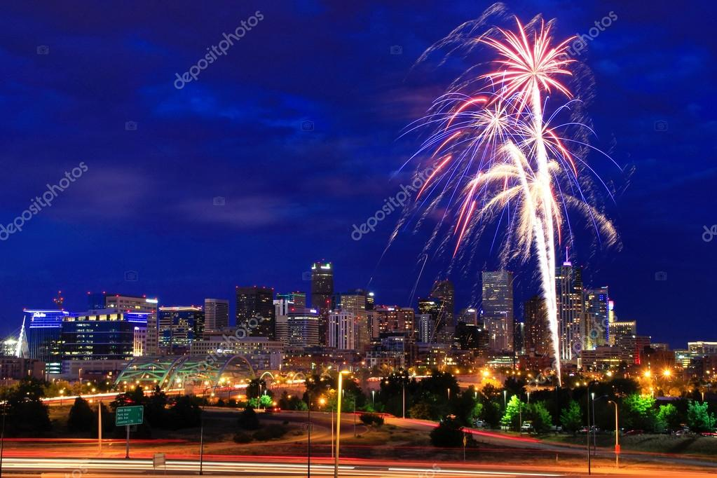 Fireworks on the 4th of July in Denver, Colorado.