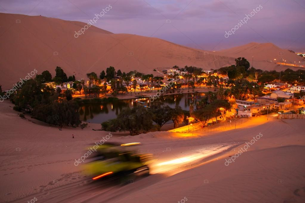Oasis of  Huacachina at night, Ica region, Peru.