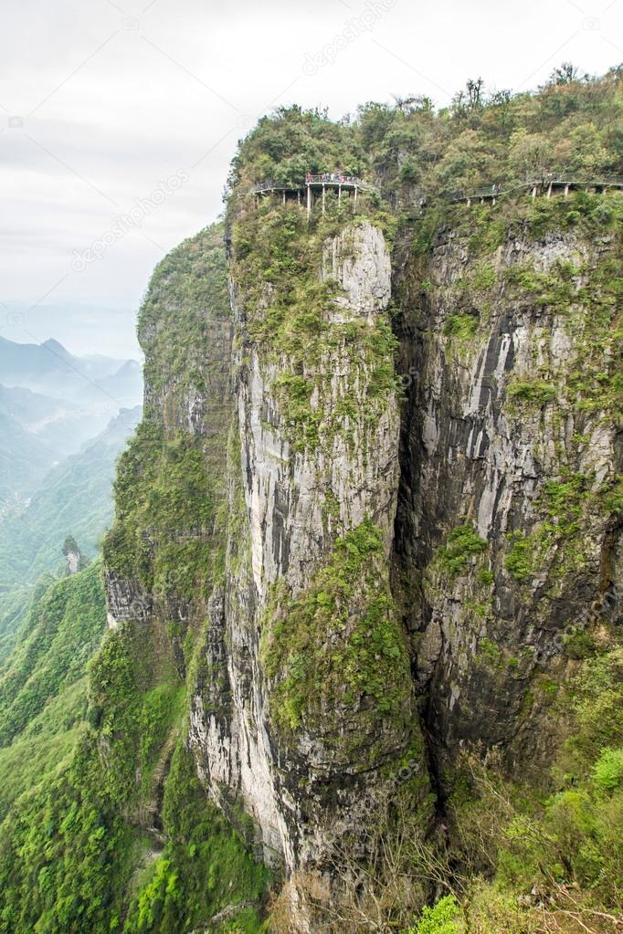 China, Mount Tianmen Shan, a glass walkway, trail of terror