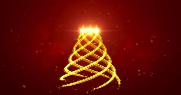 Zlaté světelné pruhy ve tvaru vánočního stromku na červeném pozadí. Abstraktní vánoční stromová animace. Zimní dovolená 4k video pozadí.