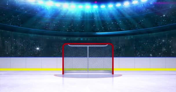Prázdný hokejový gól na sportovní aréně a fanoušci roztleskávání na pozadí. Sportovní událost jako smyčka 4k video pozadí.