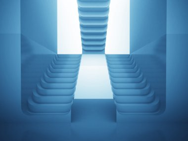 three staircases in blue light as maze consctruction