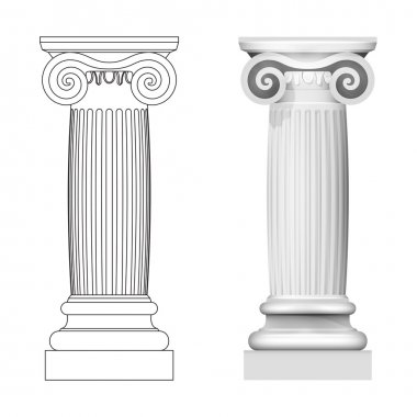 Ionic column style side view isolated