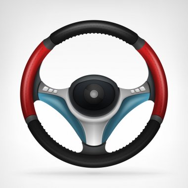 Racing steering wheel with red side handle