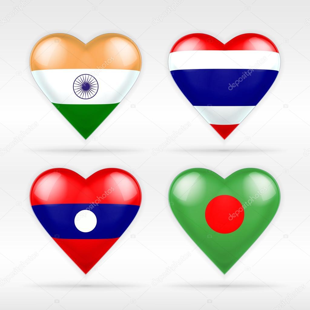 India, Thailand, Laos and Bangladesh flags