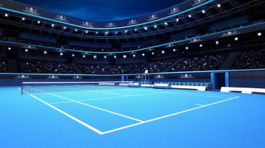 whole tennis court from the perspective of the player