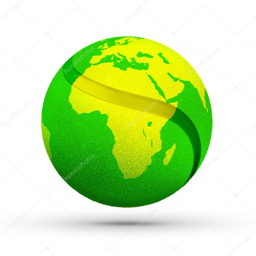 Yellow africa world map texture on green tennis ball stock photo yellow africa world map texture on green tennis ball stock photo gumiabroncs Images