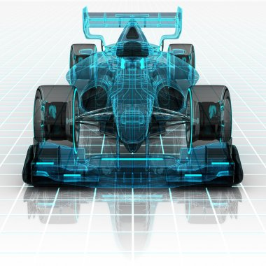 formula car technology wireframe sketch front view