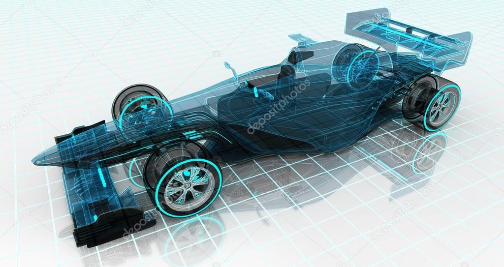 Formel-Auto Technik Drahtmodell Skizze oben Vorderansicht ...